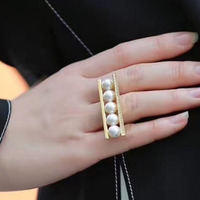 Golden love notes pearl ring COCOMISS